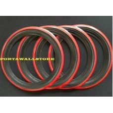 """Red Band Tyre Trims 15"""" (Set of 4) 2"""" for VW Kombi 1956 to 1964 and Beetle 1946 to 1979"""