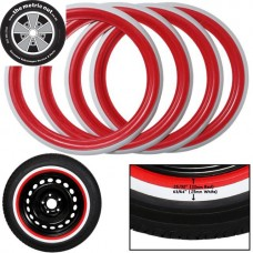"Red and White Band Tyre Trims 15"" (Set of 4) for VW Kombi 1956 to 1964 and Beetle 1946 to 1979"