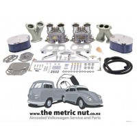 Dual EMPI 40 HPMX Kit with Billet Aluminum Air Cleaners for Type 1 Beetle, KG and Kombi Engines.
