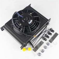 """Universal 30 Row Engine Oil Cooler with -8AN Fittings + 7"""" Fan"""