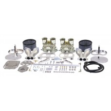 Dual EMPI 40 HPMX Kit with chrome Air Cleaners for VW Type 1 Beetle, KG and Kombi Engines