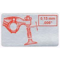 Valve Adjustment Sticker (0.15mm / 0.006