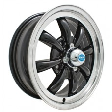 EMPI 8 Spoke Wheel, 15x5.5 (4x130 Pattern), Black with Polished Lip.